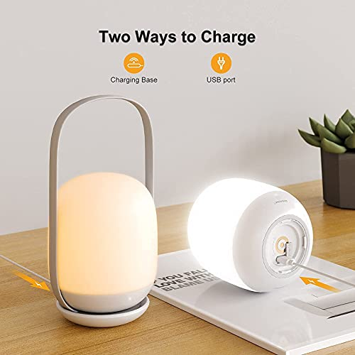 Rechargeable Night Light for Kids, Dimmable Baby Touch Control Lights with Charging Pad & 1800mAh Battery, Color Changing Bedside LED Egg Lamps with Handle for Bedroom Nightstand Nursery Breastfeed