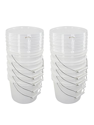 llon Buckets with White Snap-on Lids ()