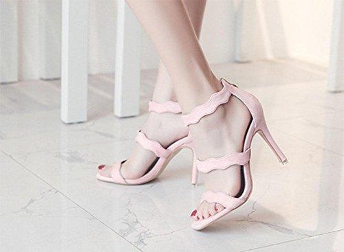 MEILI Cabeza cuadrada de mujer con sandalias con cremallera 3