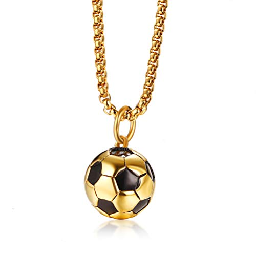 Cupimatch Men's 3D Football Pendant Necklace Chain, Stainless Steel Sports Soccer Ball Charm Necklace Jewelry 24