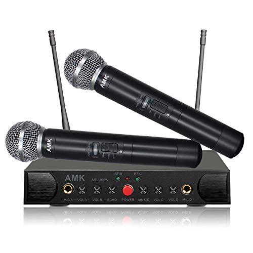Wireless Microphone System with Echo, AMK UHF Dual Wireless Mics Receiver with 1/4