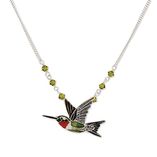 Cloisonne Ruby Throat Hummingbird Necklace