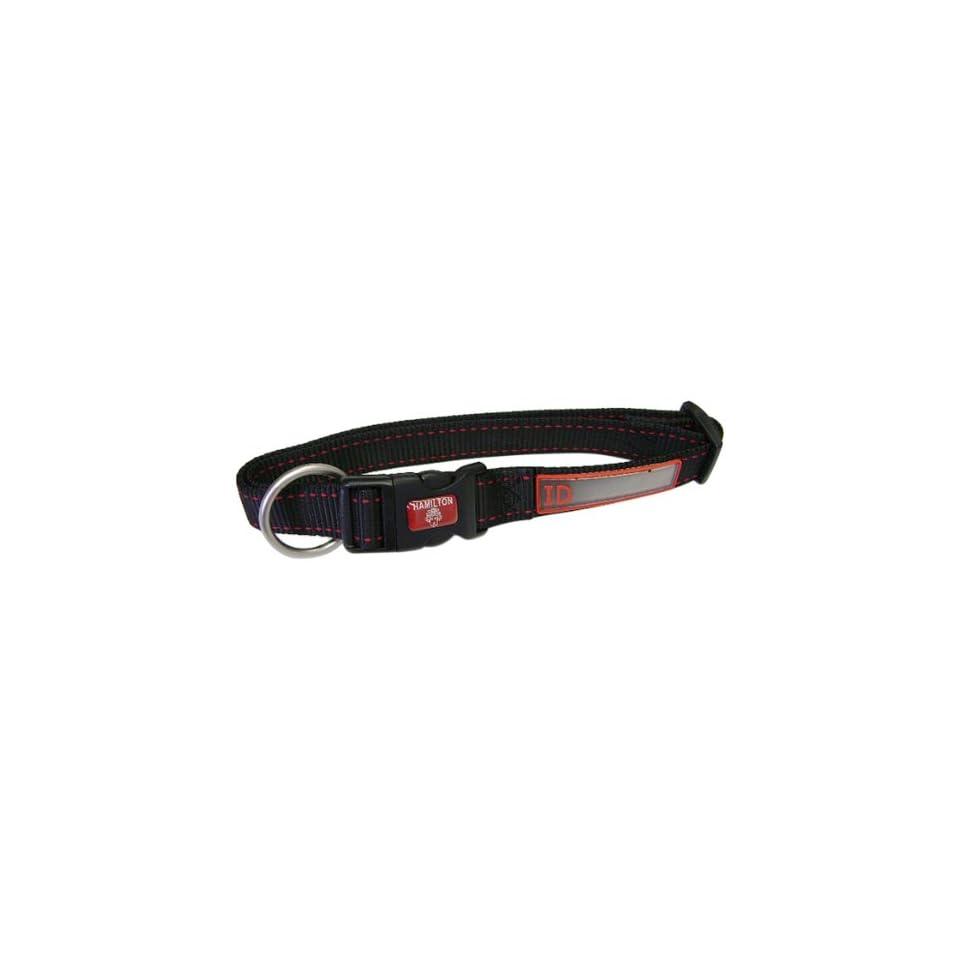 Hamilton 5/8 x 12 Single Thick Nylon Adjustable (12 inch to 18 inch) Pet Sport ID Dog Collar, Black