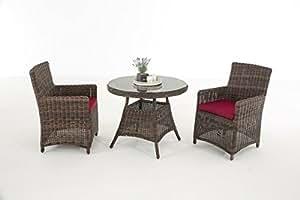 Conjunto de jardín cp068, asiento Grupo Muebles de Salón de Polirratán ~ Cojín Rojo, Marrón jaspeado