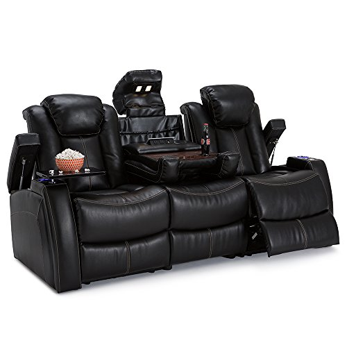 Home Movie Theater Chairs (Lane Omega Leather Gel Home Theater Power Recline Multimedia Sofa with Fold-Down Table (Black))