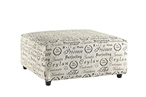 Ashley Furniture Signature Design - Alenya Oversized Accent Ottoman - Linen Upholstery - French Scripting - Quartz