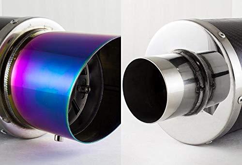 S SIZVER Weld-On Muffler Series Universal 4 N1 Rainbow Burnt Slant Tip Carbon Fiber Exhaust Muffler 2.5 Inlet