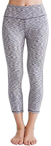 Oalka Women's Yoga Capris Power Flex Running Pants Workout Leggings Camo Grey XL