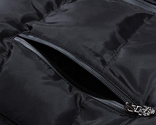Bolsillos Negro Sin Color Kasen Chaqueta Sólido Hombre Chaleco Caliente Cremallera Mangas fqvwgY7