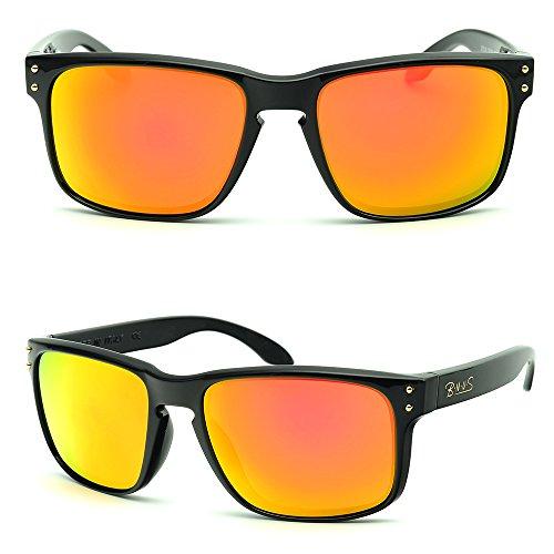 BNUS Italy made Classic Sunglasses Corning Real Glass Lens w. Polarized Option (Frame: Black, Orange - Italy Sunglass