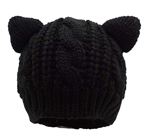 Bellady Kids Girls Cable Knit Children's Winter Hat Beanie with Cat Ear, Black_Child -