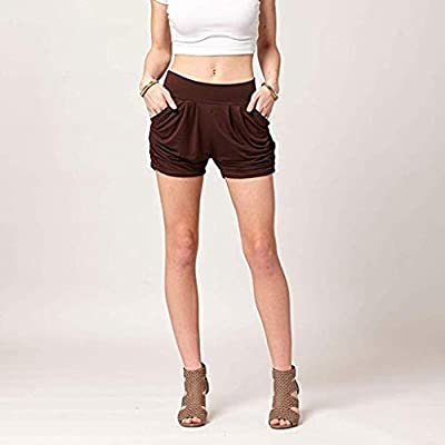 Funic 2019 New Women Casual Shorts Solid Color Elastic Waist Loose Pajama Gym Sport Pants
