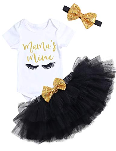 Mother's Day Outfit Newborn Baby Girl Mama's Mini Skirt Sets Short Sleeve Romper Tutu Skirt with Headband 3Pcs Clothes Sets 3-6 Months -