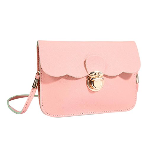 PU Pink Small Mini Square Leather Women Domybest Phone Bag Shoulder Bags Simple Messenger 7xw6TRqEp
