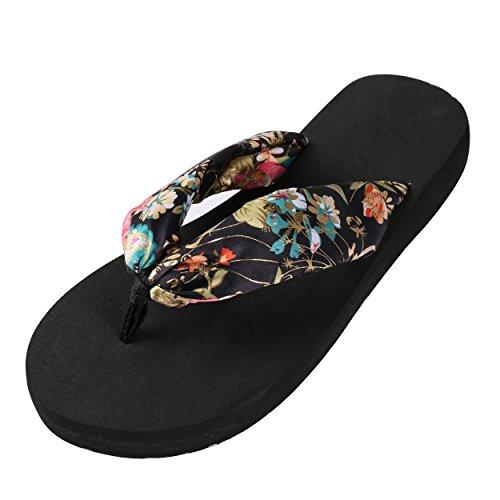 Aerusi Femmes Plage Flip Flops Floral Satin Tongs Pantoufles Plates Ou Talons Été Sandales Chaussures Chaussures Plates - Noir