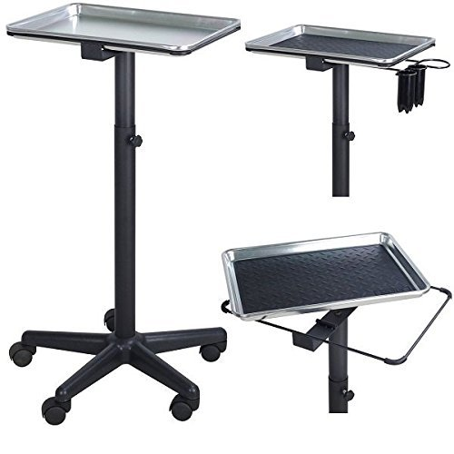 Service Trolley - Silver Style Polish - Colouring Hair Spa Tattoo Styling Dentist Salon Hairdresser Pet ST-TRAY-MAT-SIL