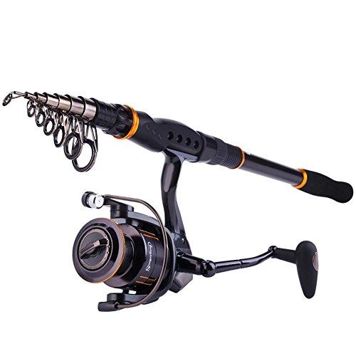 Sougayilang fishing rod reel combos collapsible for Sougayilang spinning fishing reels