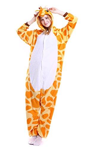 Dingwangyang Uinisex Adult Pajamas Onesie Kigurumi Cosplay Costumes Animal Jumpsuit Giraffe-XL