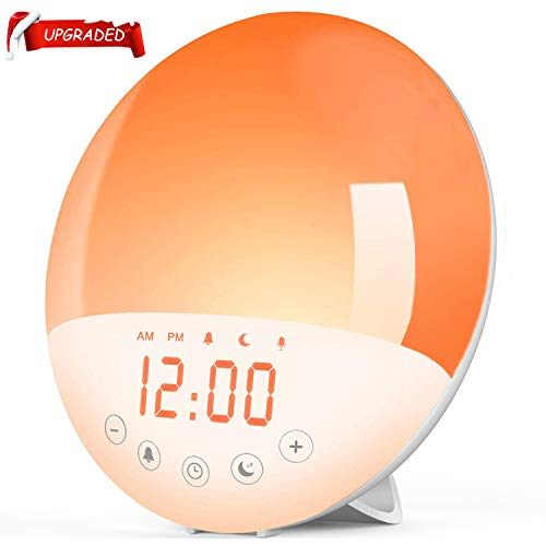Wake Up Light Alarm Clock,Sunrise Alarm Clock with Sunrise/Sunset Simulation& White Noise Sleep Aid,7 Colors Atmosphere Lamp,8 Natural Sounds & Voice Recorder,FM Radio,Snooze for Kids Adults Bedroom