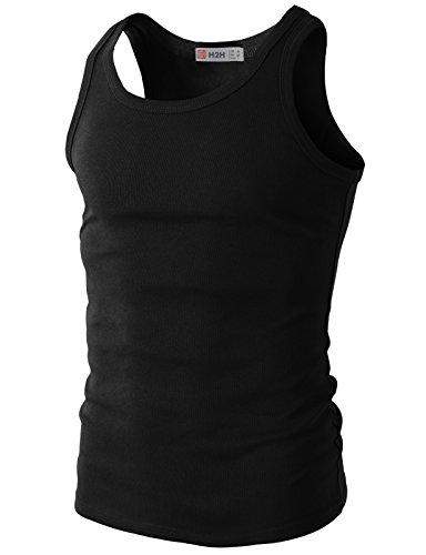 H2H Men's Casual Slim fit Tank Tops Basic Designed Of Various Colors BLACK US L/Asia XL (KMTTK024)