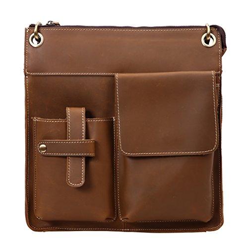 Leathario bolso bandolera con la primera capa de cuero de caballo loco para hombres en viaje o trabajo café 2