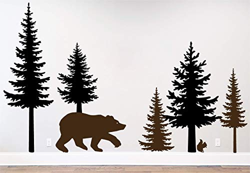 Pine Tree Branches Forest Bear Squirrel Winter Deer Silhouette Wall Decal Sticker Nature Woods Scene
