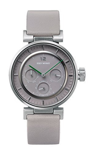 ISSEY MIYAKE 'W mini' Quartz Stainless Steel and Grey Leather Casual Watch (Model: NYAB002Y)