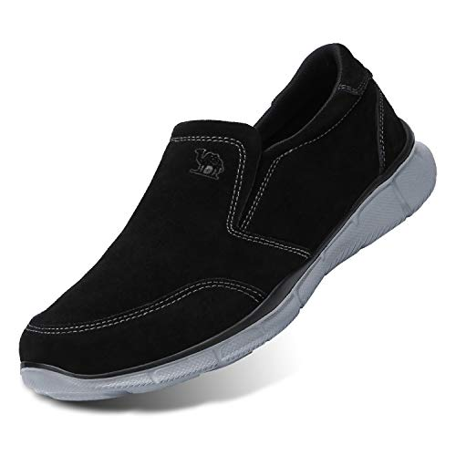 CAMEL CROWN Uomo Pelle Scarpe da Running Sneakers Basse Outdoor Fitness Leggere Comodo Nero