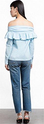 Moda Off The Shoulder Hombros al Descubiertos Aire Escote Bardot Manga Larga Bajo de Volante Pull On Blusón Blusa Camisero Camiseta Camisa Top Azul Azul