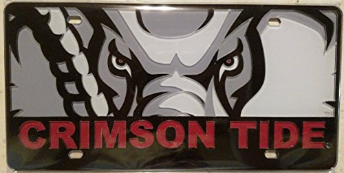 - Alabama Crimson Tide PRINTED Mascot Deluxe Acrylic Laser License Plate Tag University of