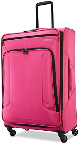 American Tourister 4 Kix Expandable Softside Luggage with Spinner Wheels, Pink, Checked-Large 28-Inch