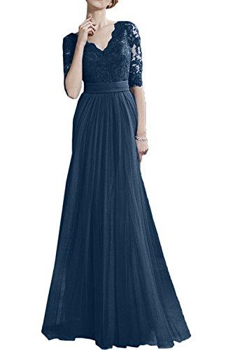 2018 Neu Blau Abendkleider Kleider Spitze A Langarm Lang Brau Tinte  Brautmutterkleider Jugendweihe mia La Promkleider ... de4ec78a3d