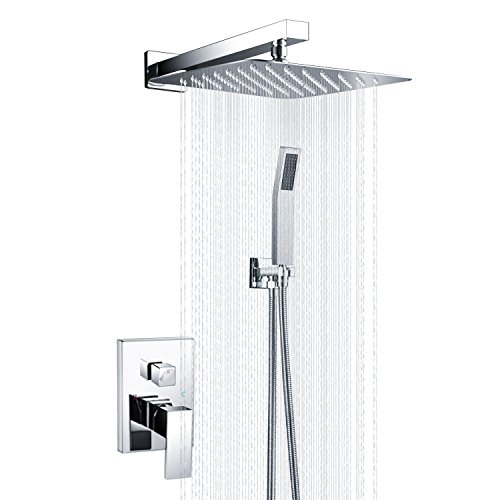 SR SUN RISE Shower System CA-D1203 Bathroom Luxury Rain Mixer Shower Combo  Set Wall Mounted Rainfall Shower Head Faucet Polished Chrome 12 Inch