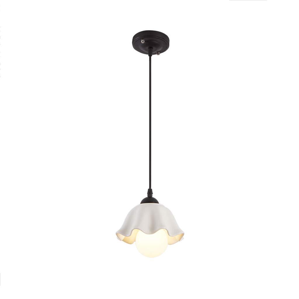 American Country Retro Simple Dining Room Lamp, Three-Headed Idyllic Bar Ceramic Korean Chandelier (Color : Black (Single Head))
