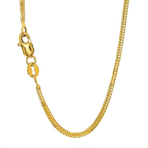 14K Yellow Gold 1mm Foxtail Chain Necklace Lobster Clasp