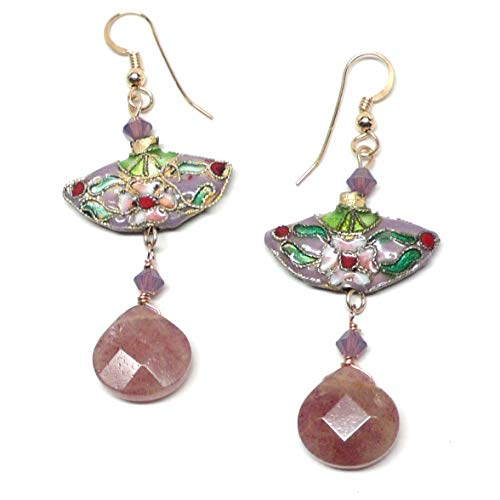 - Chinese Cloisonne Enamel Lavender Fan Pierced Earrings Gold-Filled Muscovite Briolette