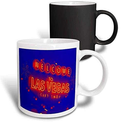 3dRose Jos Fauxtographee- Welcome to Las Vegas Gift Shop - Welcome to Las Vegas gift shop done in blue and orange - 11oz Magic Transforming Mug (mug_303280_3)