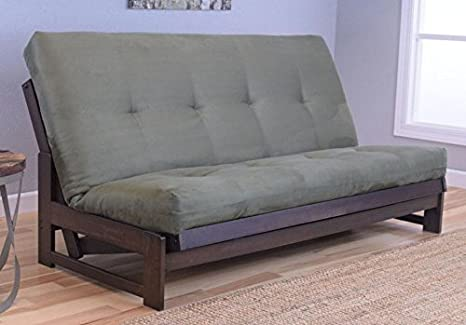 Colorado Reclaim Mocha Frame and Mattress Set w/ Choice of Fabrics, 7 Inch Innerspring Futon Sofa Bed Full Size Aspen Style (Frame w/ Suede Olive)
