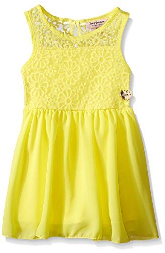 - Juicy Couture Baby Girls' Embroidered Mesh Georgette Dress, Lemon, 12 Months