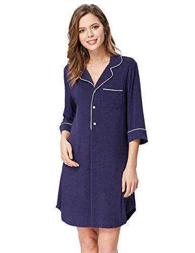 Button Front Nightshirt - Zexxxy Women Soft Modal Pajama Top Irregular Hem Sleepwear Navy Blue S