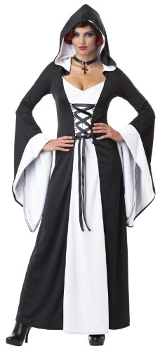 [California Costumes Women's Deluxe Hooded Robe Adult, White/Black, Large] (Womens Deluxe Hooded Robe Costumes)