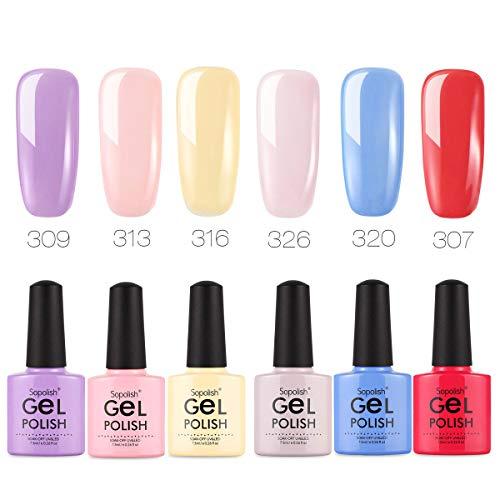 Gift Box Sopolish 7.5ml Gel Polish Nail Art Venis Colorful Bottles Non-Toxic Gelen Top UV Hybrid Lacquer Gel Len Base Coat Environmental (set6-6 Colors) ...