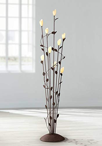 (Arbor Cottage Floor Lamp 9-Light Rust Twisted Vine Metal Glass Shade Foot Dimmer for Living Room Bedroom - Franklin Iron Works)