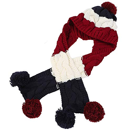 2 in 1 Beanie Hat Scarf Winter Soft Warm Plush One - Piece Thick Knitted Beanie Hat with Pompon Earflaps Neck Warmer for Women,Wine Red ()