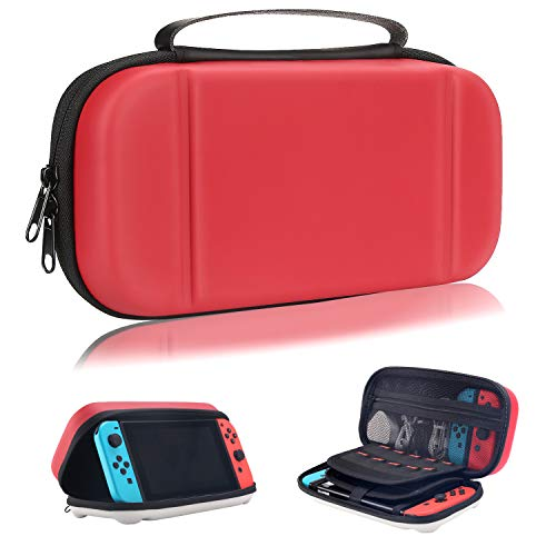 Moretek Compatible with Nintendo Switch Carrying Case EVA Hard Shell Travel Protective Cases for Nintendo Switch Game Console & Accessories (Red White) from MORETEK