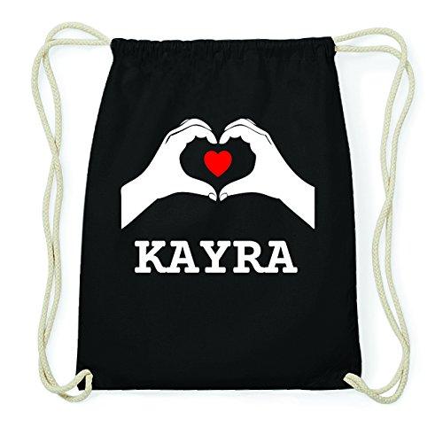 JOllify KAYRA Hipster Turnbeutel Tasche Rucksack aus Baumwolle - Farbe: schwarz Design: Hände Herz