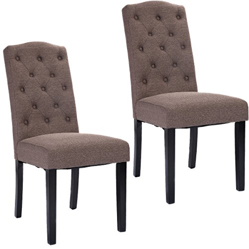 Giantex Set of 2 Fabric Wood Accent Dining Chair Tufted ...