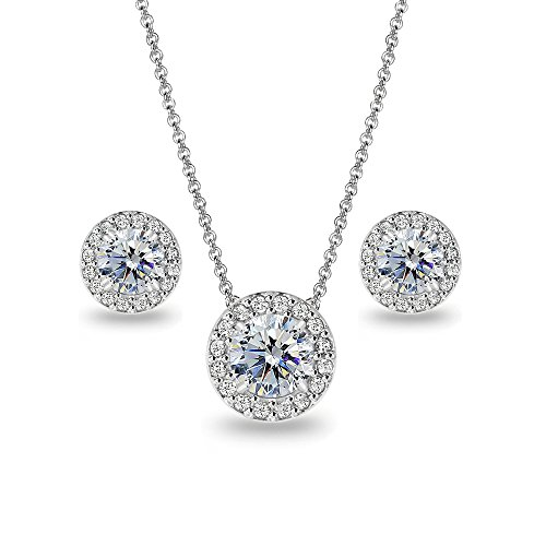 (Sterling Silver Clear Round Halo Necklace & Stud Earrings Set Made with Swarovski Crystals )