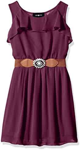 Amy Byer Big Girls' Ruffle Front Dress with Open Back and Belt