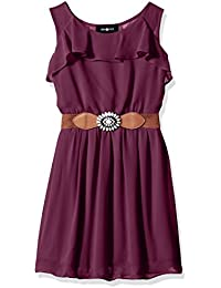 Big Girls' Ruffle Front Dress with Open Back and Belt